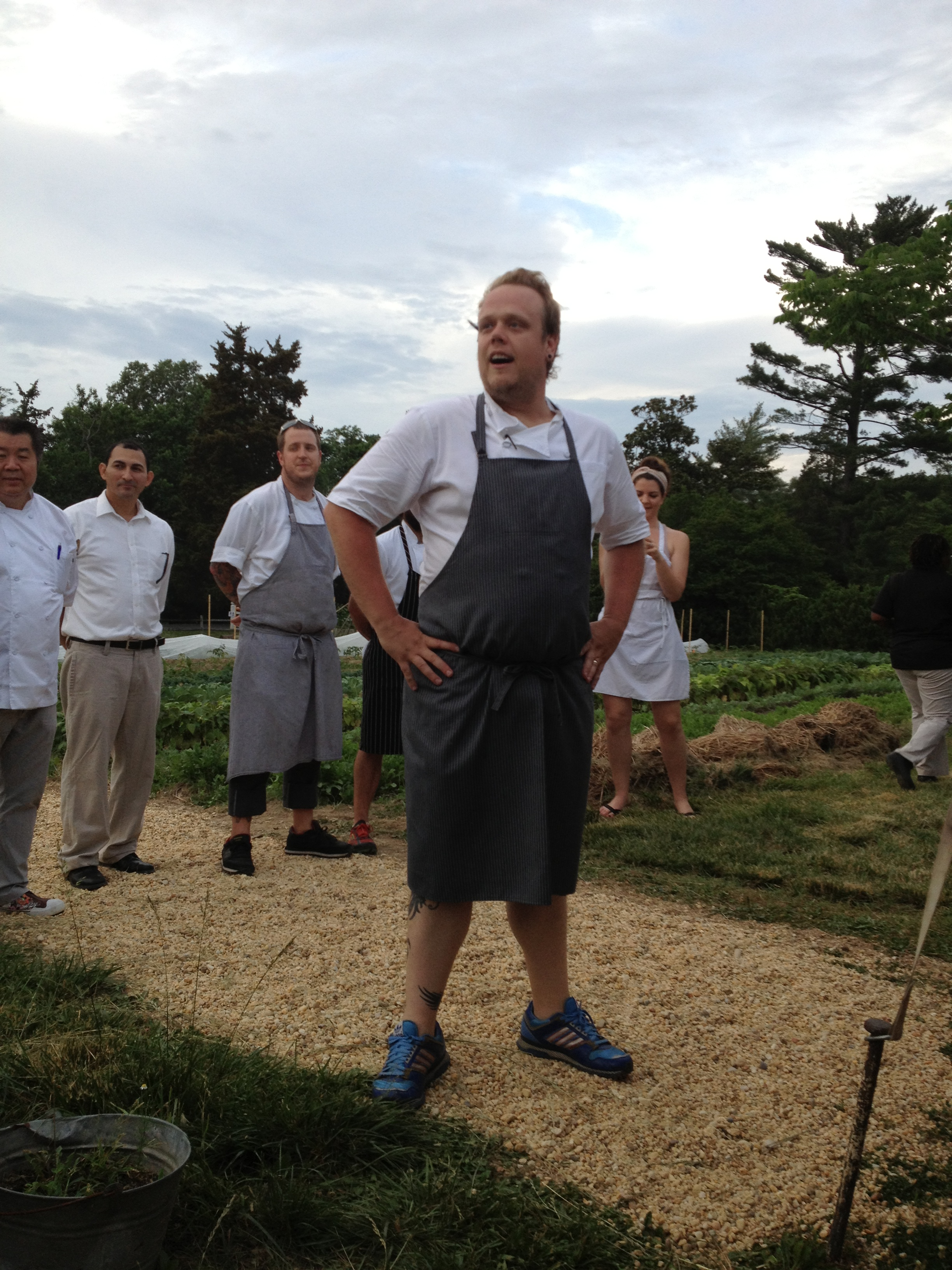 Chef Chittum proudly stands with his staff after the farm dinner