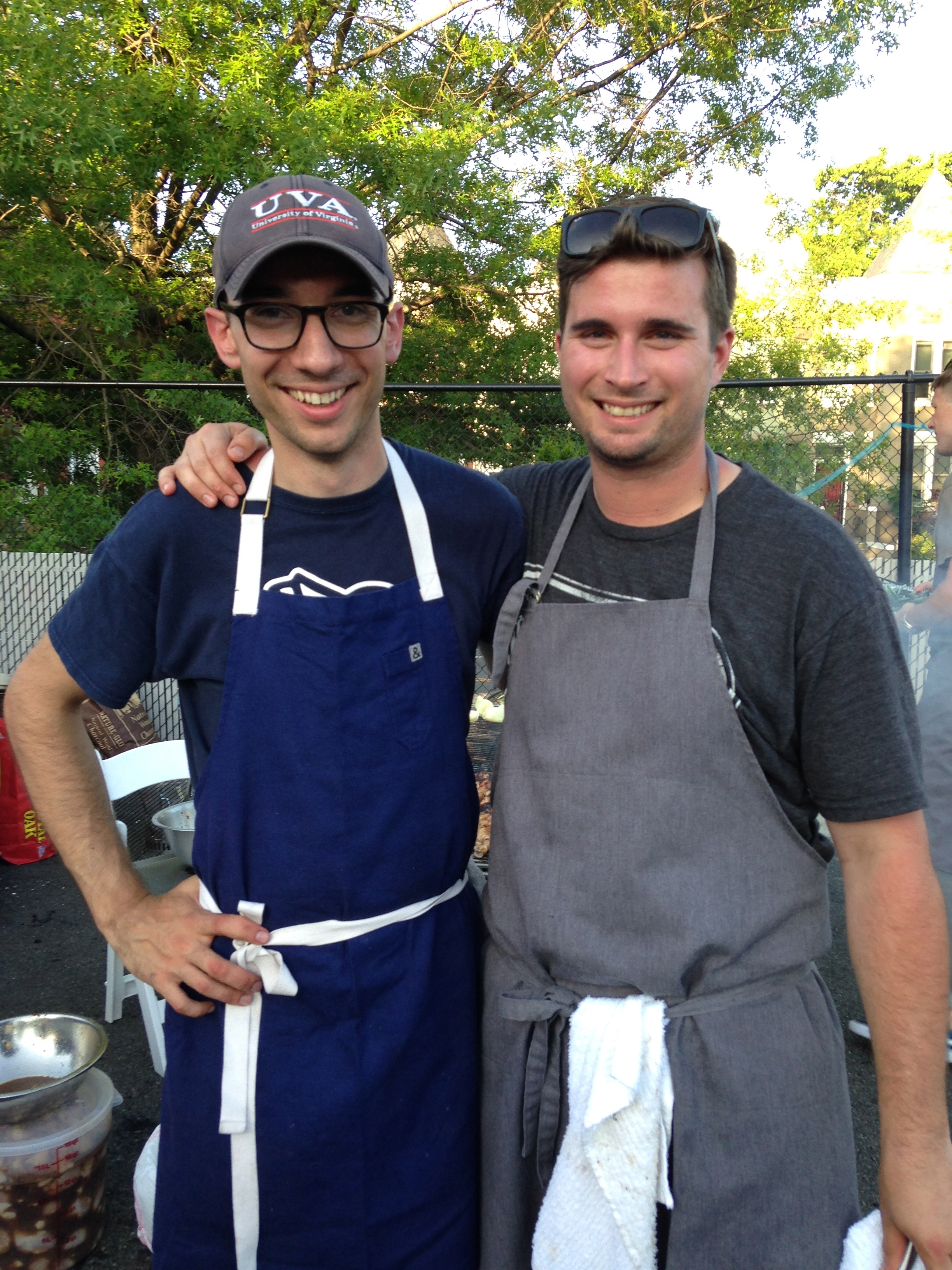 Chefs Tom Madrecki and Jeremiah Langhorne take a break in the cooking for a picture